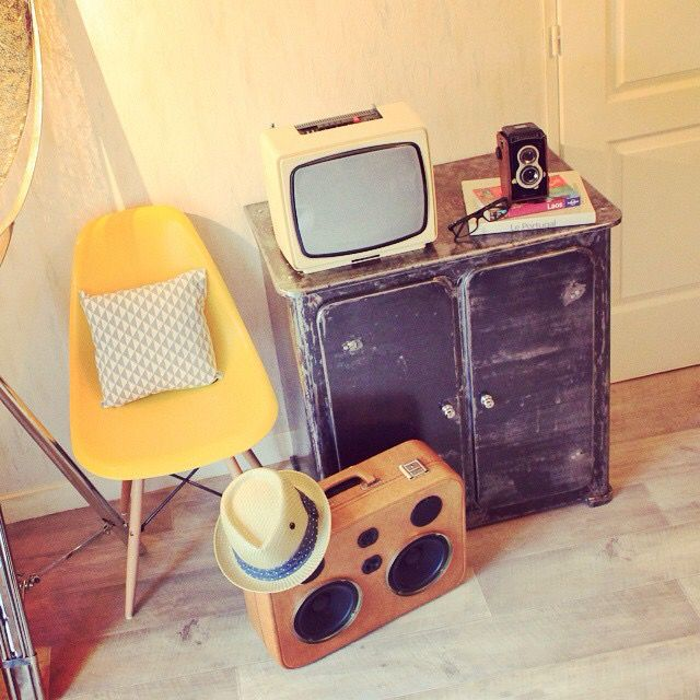 Original DIY iPod speaker, eames chair & geometric cushion, spruced furniture & vintage Tv & Traveller