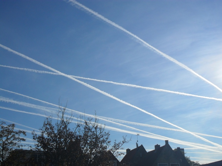 Airplane lines in the sky. Spring 2012.