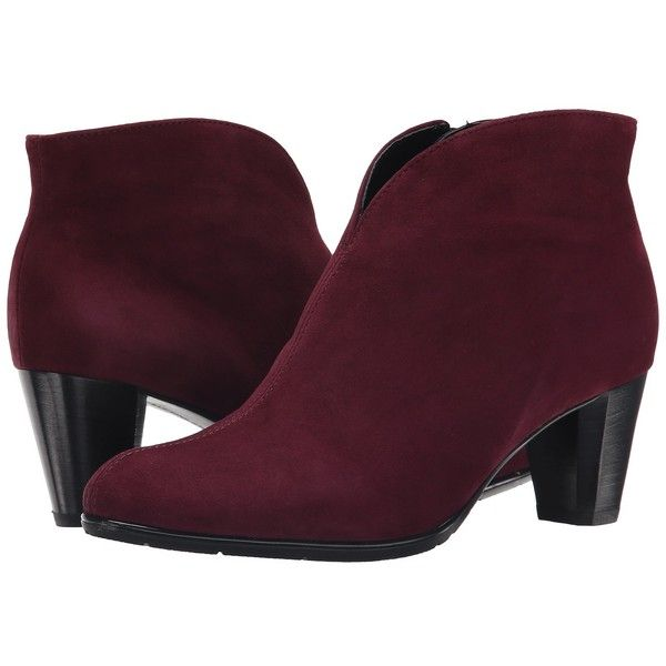 ara Tricia (Burgundy Suede) Women's Dress Pull-on Boots (11.575 RUB) ❤ liked on Polyvore featuring shoes, boots, slip on boots, burgundy suede boots, ara boots, side zipper boots and side zip boots