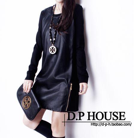 Дешевое 2014 корейский OL темперамент объединяясь пу с длинным рукавом большой размер дна платье, Купить Качество Платья непосредственно из китайских фирмах-поставщиках: