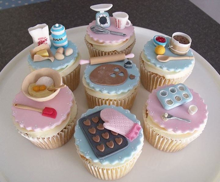 baking themed cupcakes - these are adorable!