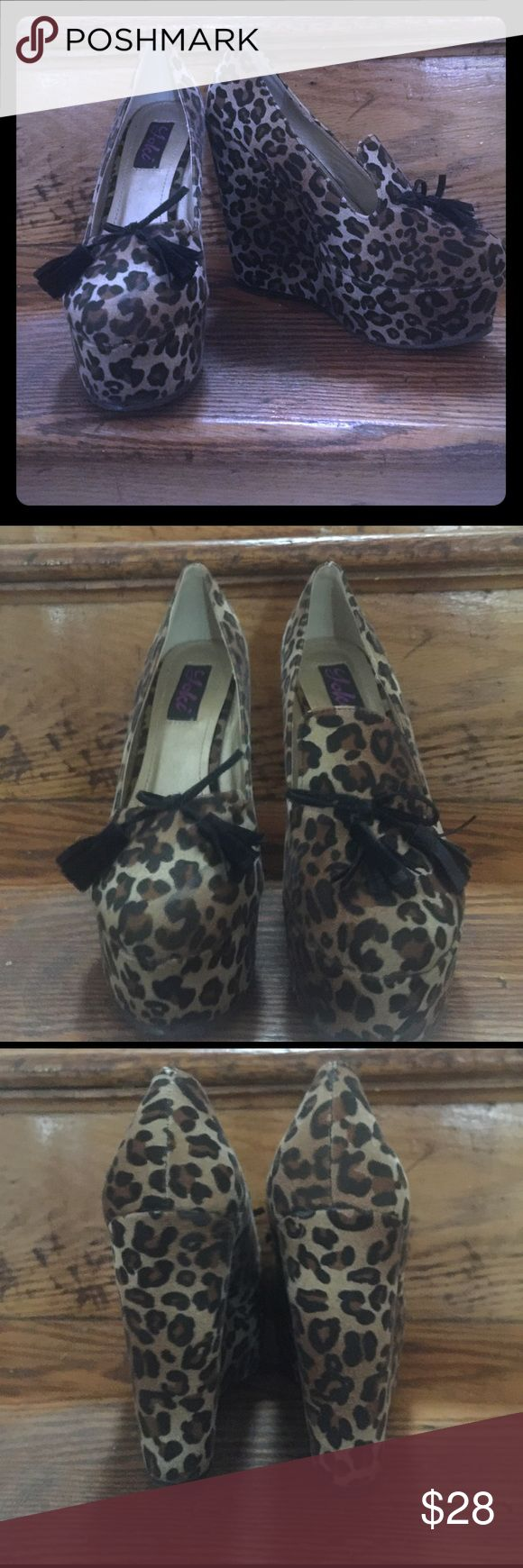 """YOKI """"Trina 28"""" leopard wedges Leopard print wedge loafers with tassel bow on front closed toe. Yoki Shoes Wedges"""