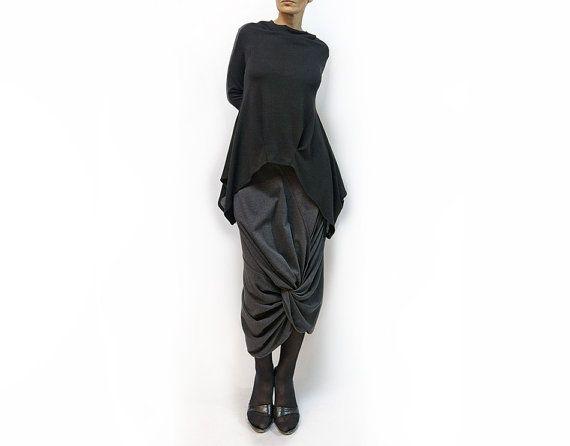 блузка, черный блузка, блузки вязаные, длинные рукава, оригинальное блузка, мягкий блуза блуза, осень, костюм, черный туника, плюс размер, падение тенденция Модель B-59