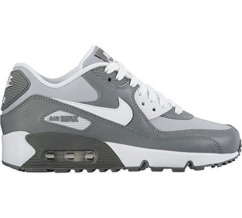 Nike AIR MAX 90 LTR (GS) boys running-shoes 833412-003_6Y - WOLF GREY/WHITE-COOL GREY