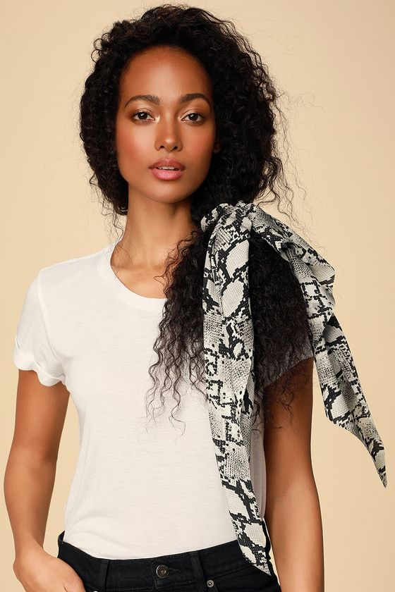 Cultivated Black and White Snake Print Scarf Ponytail Holder