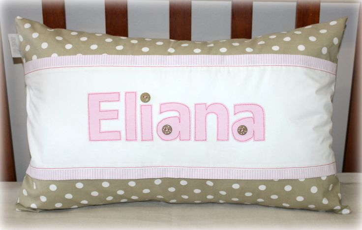 """Personalized Cushion with name """"Eliana"""" in stone/gold and blush pink. Size 35cm x 55cm. Available on order from Tula-tu Baby Linen (South Africa). www.tulatu.co.za"""