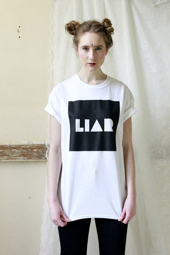 LIAR Slogan Monochrome Black and White T shirt Hipster Indie Band on Etsy, $31.50