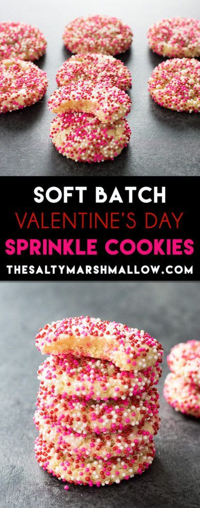 Easy soft batch sugar cookies for Valentine's Day! No dough rolling required!