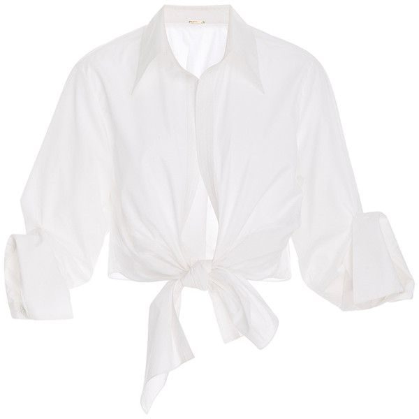 Johanna Ortiz     Victory Tie Front Shirt (1,055 CAD) ❤ liked on Polyvore featuring tops, blouses, shirts, blusas, white, white tie front shirt, white tie blouse, white top, tie front shirt and tie top