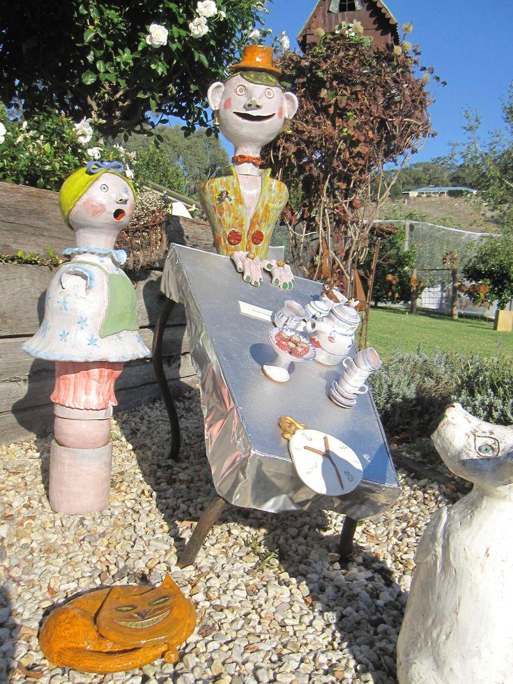 "Ceramic Sculpture Autumn  Ellen Hansa Stanyer "" Mad Hatters Tea Party"""