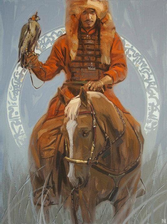"Kazakh painter Nurlan Kilibayev. ""Sunkar"", i.e. Falcon"