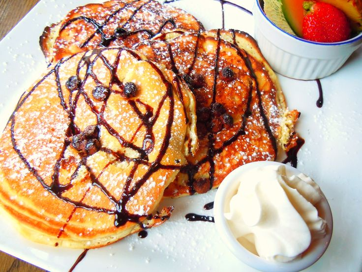 Giant, moist, fluffy chocolate chip pancakes from Toronto's Brownstone Bistro.