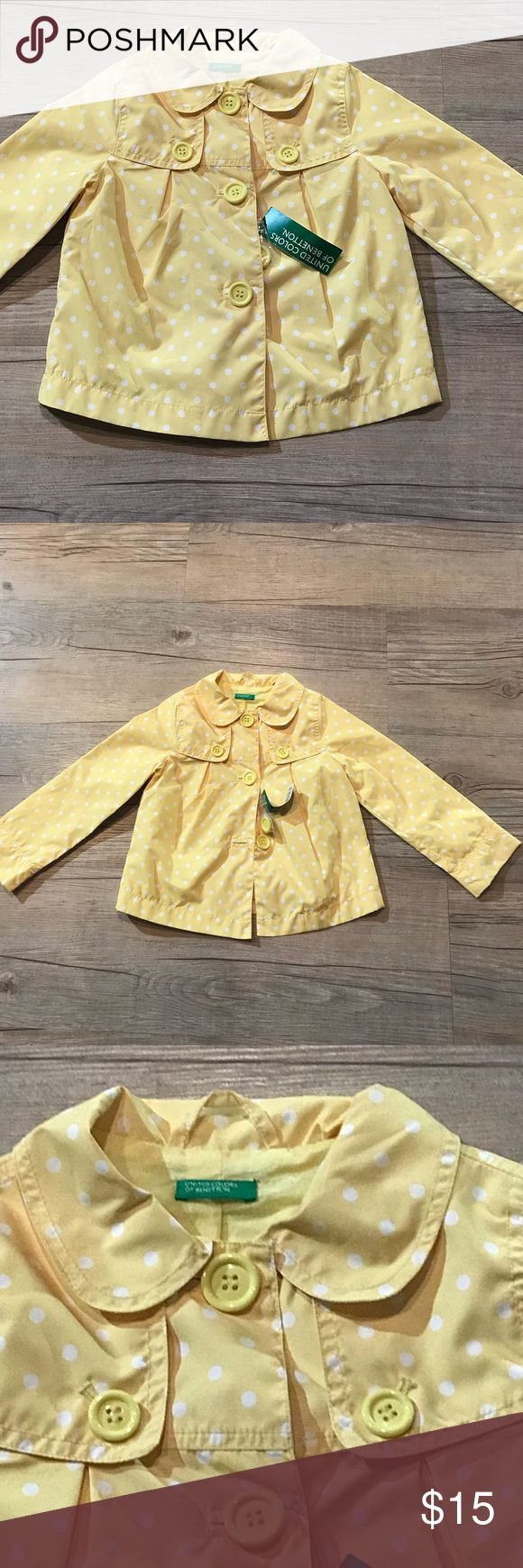 NWT Yellow Polka Dot Rain Coat United Colors Of Benetton, size 5, new with tags. Bright yellow coat with white Polka dots.  Lightweight rain slicker water resistant material-tag does not say if it's 100% waterproof. Super cute for spring rainy days! (18-2-36) United Colors Of Benetton Jackets & Coats Raincoats