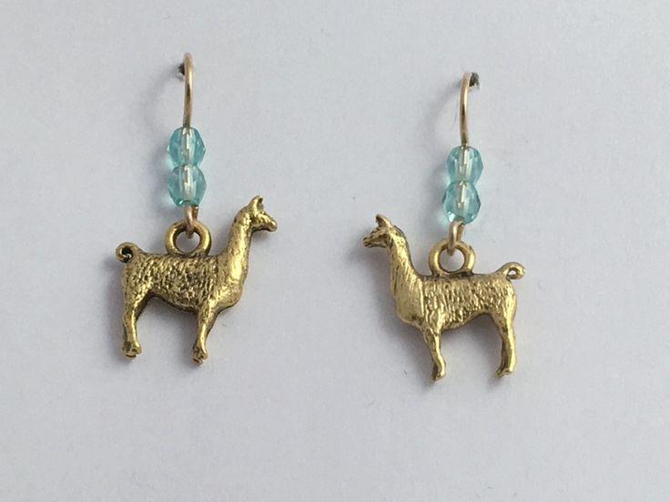 Gold tone Pewter & 14k gf llama dangle earrings-alpaca, Andes, Peru, Llamas,
