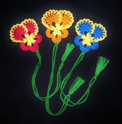 3 Handmade Crocheted Pansy Flowers Bookmarks Scrapbooking Gifts Crafts | eBay