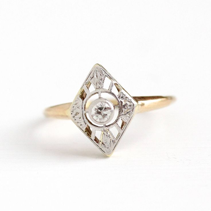 Vintage 14K Yellow & White Gold 1/10 Carat Diamond Shield Ring - Size 6 1/4 Art Deco 1920s Flower Halo Engagement Fine Bridal Jewelry by MaejeanVintage on Etsy https://www.etsy.com/listing/551520025/vintage-14k-yellow-white-gold-110-carat