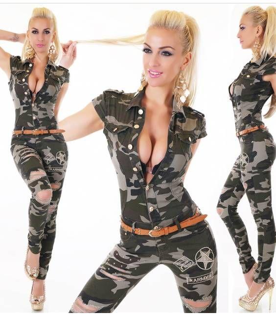 Sexy τζιν ολόσωμη φόρμα με ζώνη-camuflage
