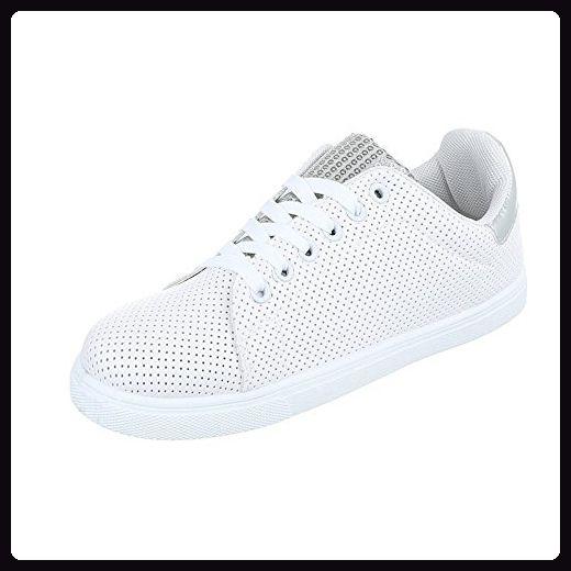 Sportschuhe Damen-Schuhe Geschlossen Sneakers Schnürsenkel Ital-Design Freizeitschuhe Weiß Silber, Gr 40, Fc-V309- - Sneakers für frauen (*Partner-Link)