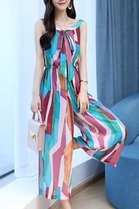 cf2b3b4f1c43 Multicolor Sleeveless Tie-neck Jumpsuit in 2019