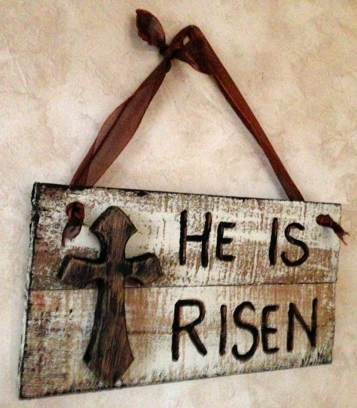 Religious Easter sign, made of recycled wood, hand painted with copper paint as an accent….made to order for your flag pole.  Adelle's Avenue on Etsy.com