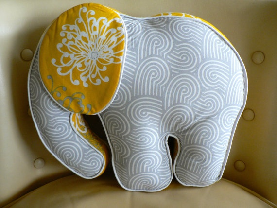 Elephant Pillow Yellow and Grey by CecilClyde on Etsy