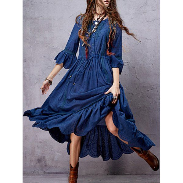 Wholesale Vintage Ruffled Lace Inset Women's Midi Dress Only $33.17 Drop Shipping | TrendsGal.com