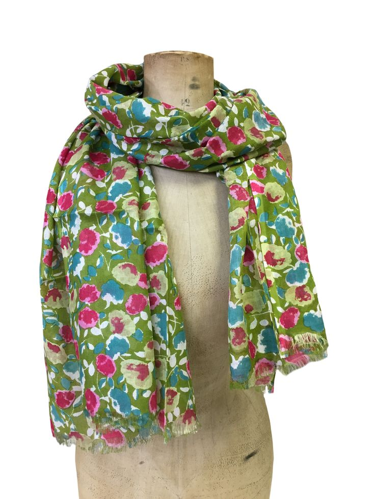 Mabel by Hem&Edge - multi floral scarf #multi #green 100% modal 70x180cm #gorgeousgreens #scarf #accessories #onebutton #hemandedge Click to buy from the One Button shop.