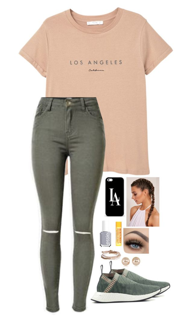"""""""Untitled #74"""" by mackenzieconstable on Polyvore featuring MANGO, Essie, adidas, Casetify, Burt's Bees, Lonna & Lilly and Carolee"""