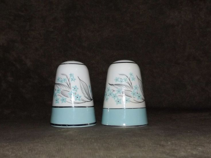 Vintage 1950's Sevron Blue Lace Fine China Salt And Pepper Shakers #Sevron