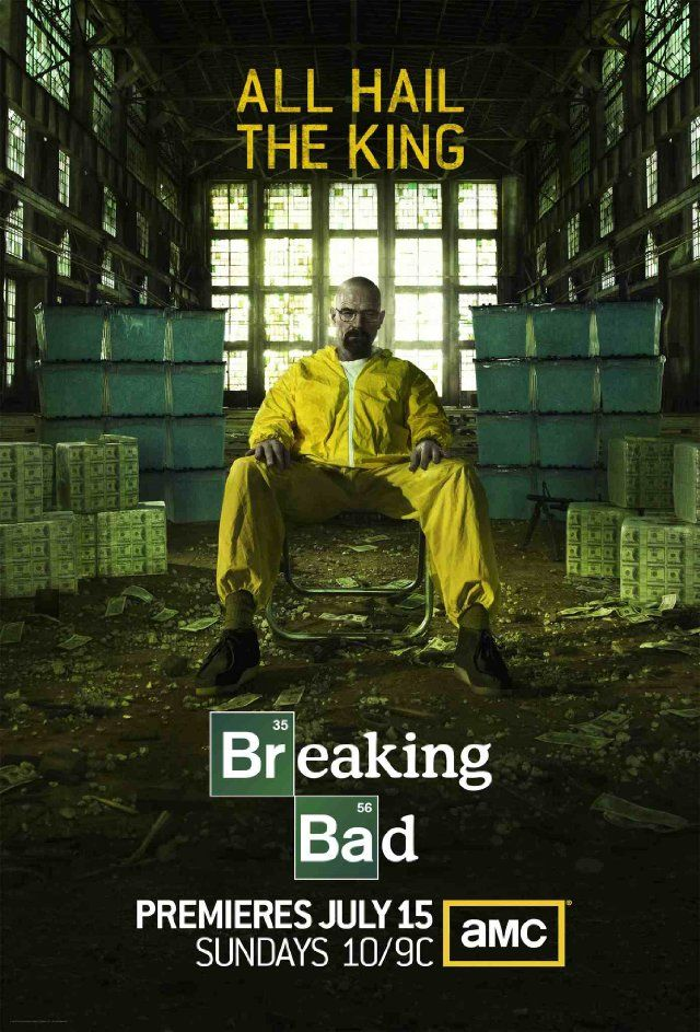 """""""ALL HAIL THE KING"""" New poster for #BreakingBad, which premieres on July 15th."""