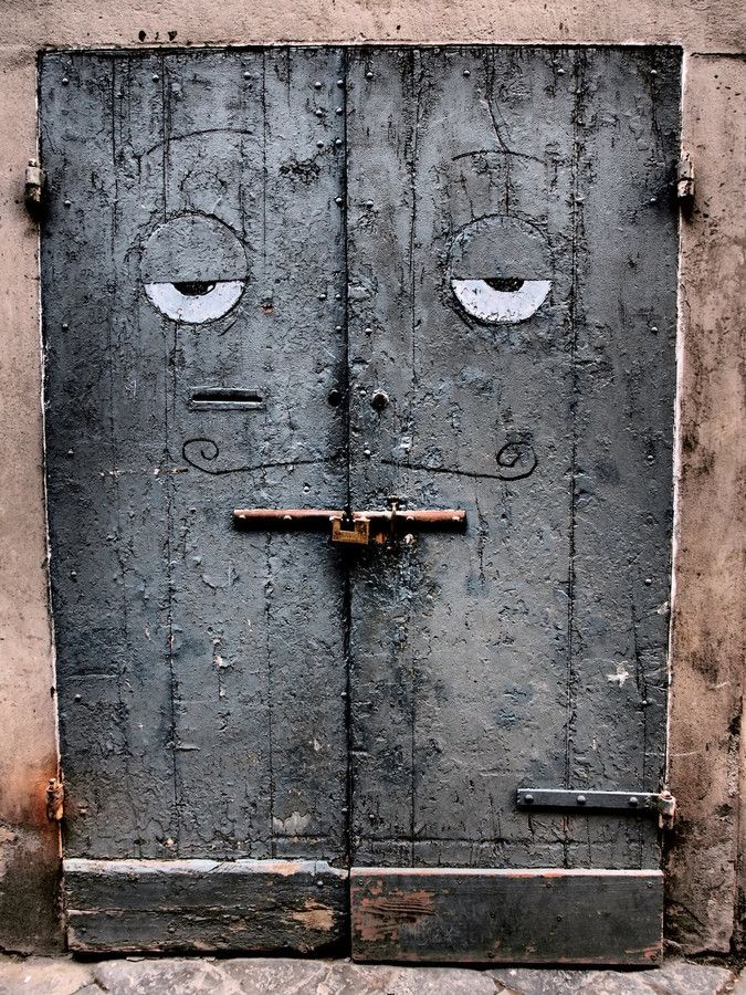 "Florence, Italy - a door with an ""accidental face."""