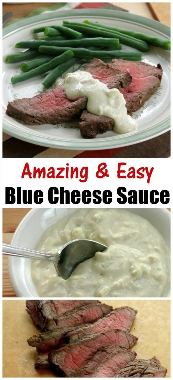 Easy, 4 ingredient Blue Cheese Sauce recipe that is superb on zesty marinated London Broil, steaks and burgers. Low-carb recipe by @DinnerMom