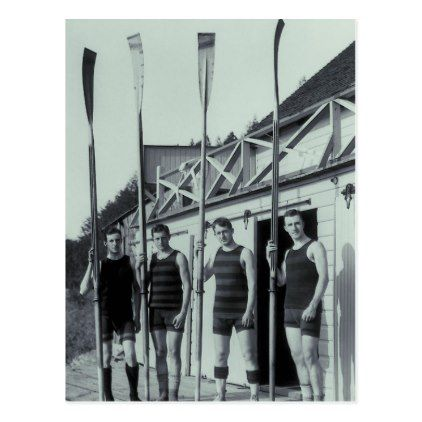 Vintage Rowing Team Postcard - vintage gifts retro ideas cyo