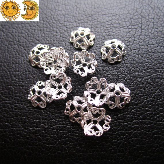 12 pcs of  925 Sterling Silver filigree bead caps by DIYbeads888, $7.20