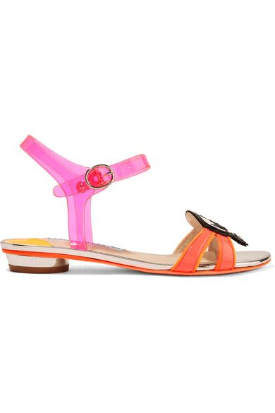 "WIFEY FOR LIFEY: ""Wifey for Lifey"" is the slogan of Sophia Webster's cult bridal collection. These sandals are made from a vibrant mix of fuchsia vinyl and black, neon-pink and orange patent-leather. Let this tongue-in-cheek pair deliver a dose of fun to your honeymoon capsule."