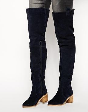 Black Suede Leather Over-Knee Thigh-High Tall ASOS KINGFISHER Suede Over the Knee Boots @ ASOS $180