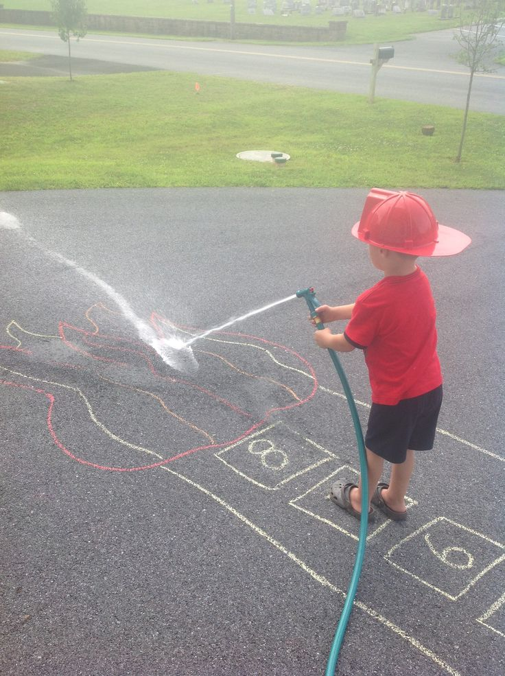 "Sidewalk chalk game! Draw a tower with flames on top. Number the windows. Roll dice so kids can practice counting. ""Climb"" to that number ""window"". Use hose to wash away chalk / put out fire. Don't forget to wear your fireman hat!!"