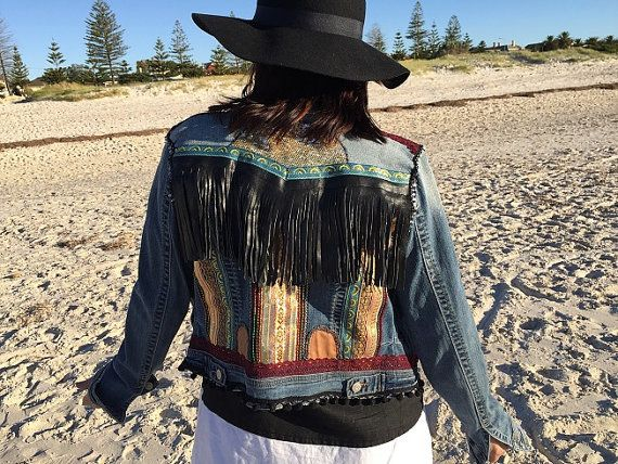 Up-cycled denim jacket, bohemian hippie Ladies embellished jacket, Hobo, ethnic  cotton denim.  Up-cycled in Australia.