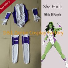 Free Shipping DHL Sexy Women She Hulk Costume White and Purple Lycra Spandex Superhero Zentai Catsuits SHS416(China (Mainland))