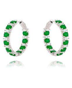 brinco argola de luxo esmeralda com zirconias cristais e banho de rodio semi joias online