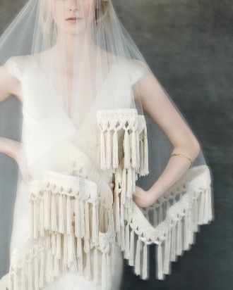 Jennifer Behr's Lattice-Fringed Wedding Veils | Martha Stewart Weddings