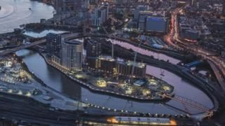 London City Island. Oxbow peninsular where the River Lea joins the Thames