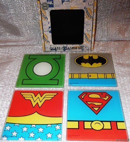 DC Comics Set of 4 Superhero Characters Glass Boxed COASTER SET by Main Street 24/7. $29.99. Brand New Licensed   DC COMICS SET OF 4 SUPERHERO CHARACTERS BOXED COASTER SET  Brand New Licensed DC Comics Set of 4 Superheroes Coaster Set  Glass Set of 4 DC Comics Superhero Characters  Superman Wonder Women Batman Green Lantern  Measure 4 inches by 4 inches  Comes in a Boxed Set