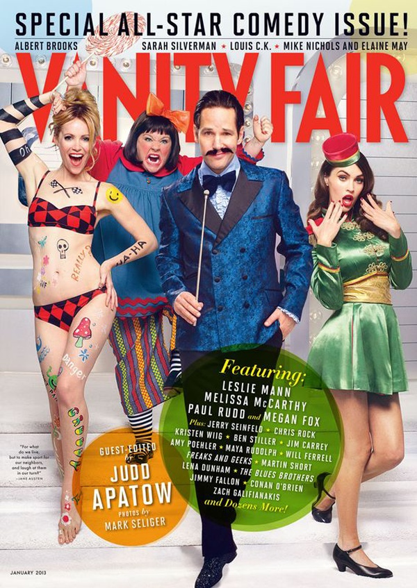 January 2013 Vanity Fair Magazine Cover featuring Paul Rudd, Kristen Wiig, Melissa McCarthy, Leslie Mann