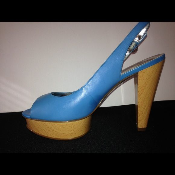 Jessica Simpson blue Platform heel shoes Jessica Simpson baby blue 5 inch heels.    8.5 size  Wooden bottom   Very comfortable.   Never Worn outside. Jessica Simpson Shoes Platforms