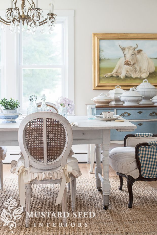 Farmhouse White Dining Room Table - Miss Mustard Seed
