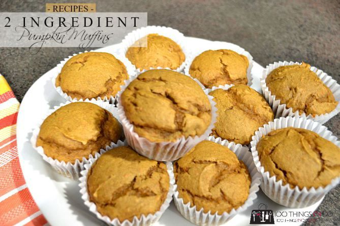 2 ingredient pumpkin muffins - moist, delicious and all you need is a cake mix and a can of pumpkin filling!