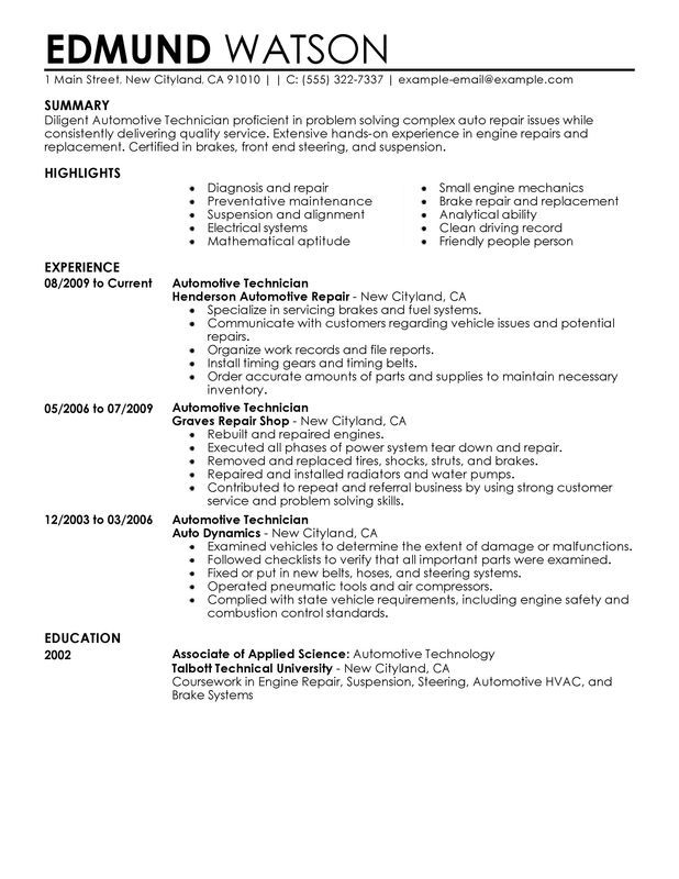sample automotive technician resume  for any career in