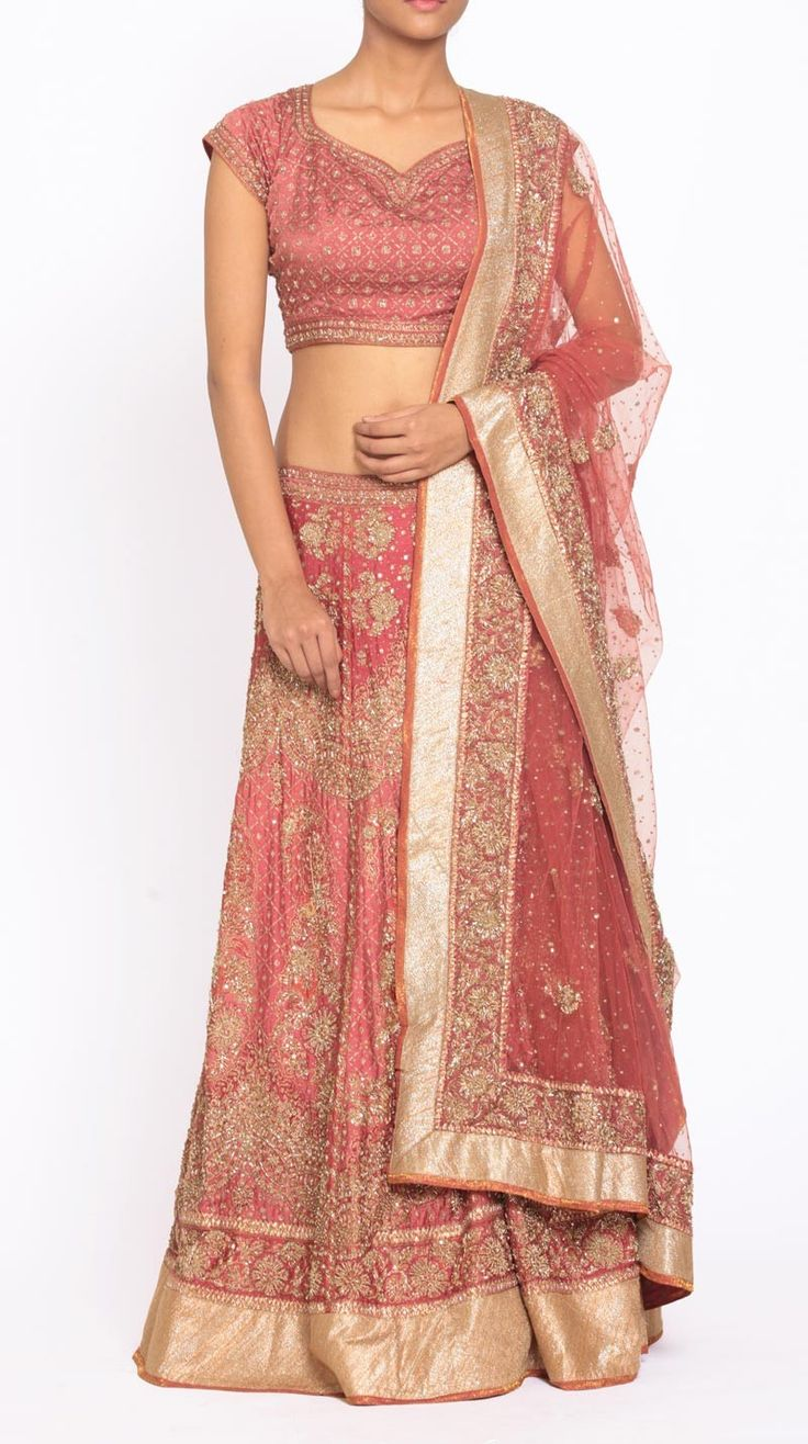 Ritu Kumar - Buy Indian Designer Pink Zardozi Embroidered Lehenga with a Choli and a Dupatta - Bridal - Lehengas Online