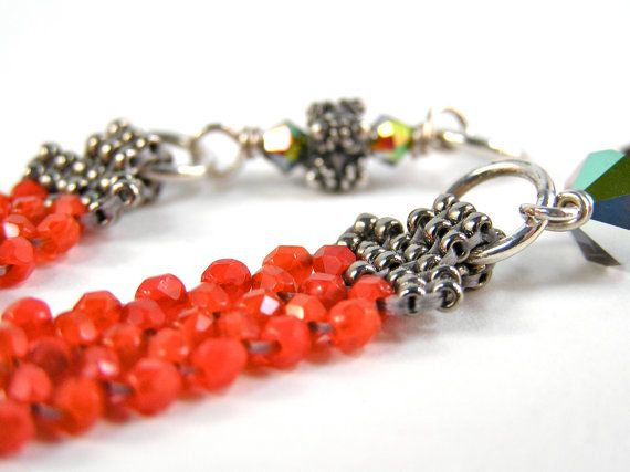 A New Angle Bracelet - Beadweaving, Beadwork - Fire Polished Glass Beads, Swarovski Crystal, & Sterling Silver - Adjustable - Scarlet Red Colorway by knitbeadlove